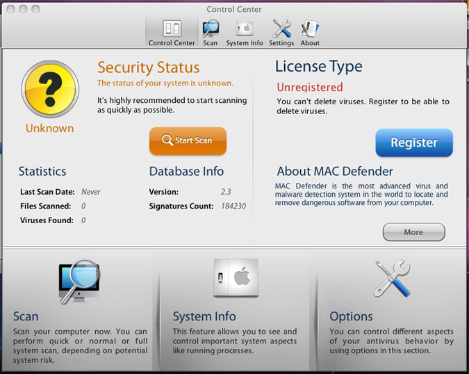 Screenshot of Mac Defender