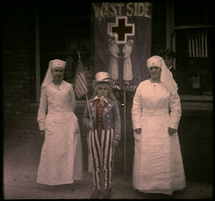"Two nurses and child dressed as ""Uncle S..."