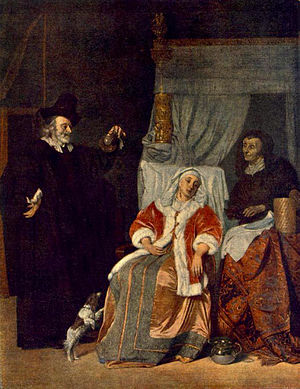 Gabriel Metsu - The Doctor's Visit - oil on ca...