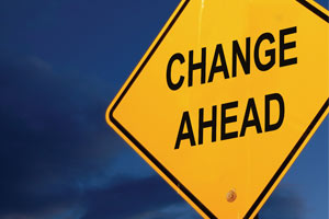 "Road Sign with text ""Change Ahead"""