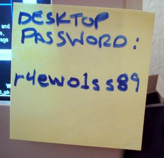 Password on a Post It Note