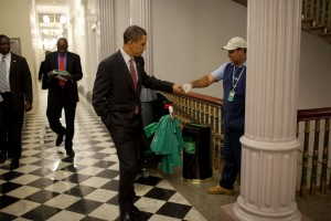 Obama Fist Bump with Janitor